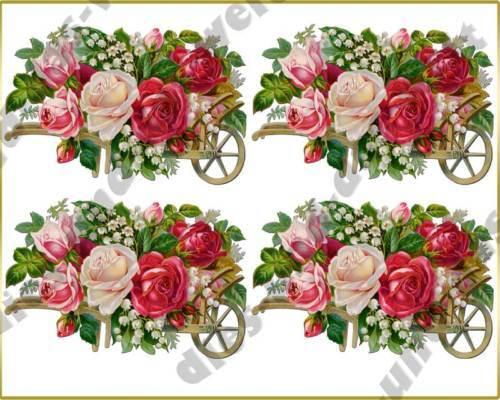 ✿ Romantische VINTAGE ROSEN Bügelbilder SHABBY Chic ✿ NOSTALGIE in Pink ✿ NEU