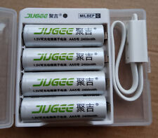 4pcs 1.5v Jugee 2400mWh rechargeable Lithium  AA  battery +charger PK KENTLI