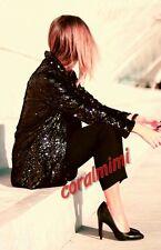 Zara BLACK GOLD SEQUIN OPEN BLAZER COAT SIZE M