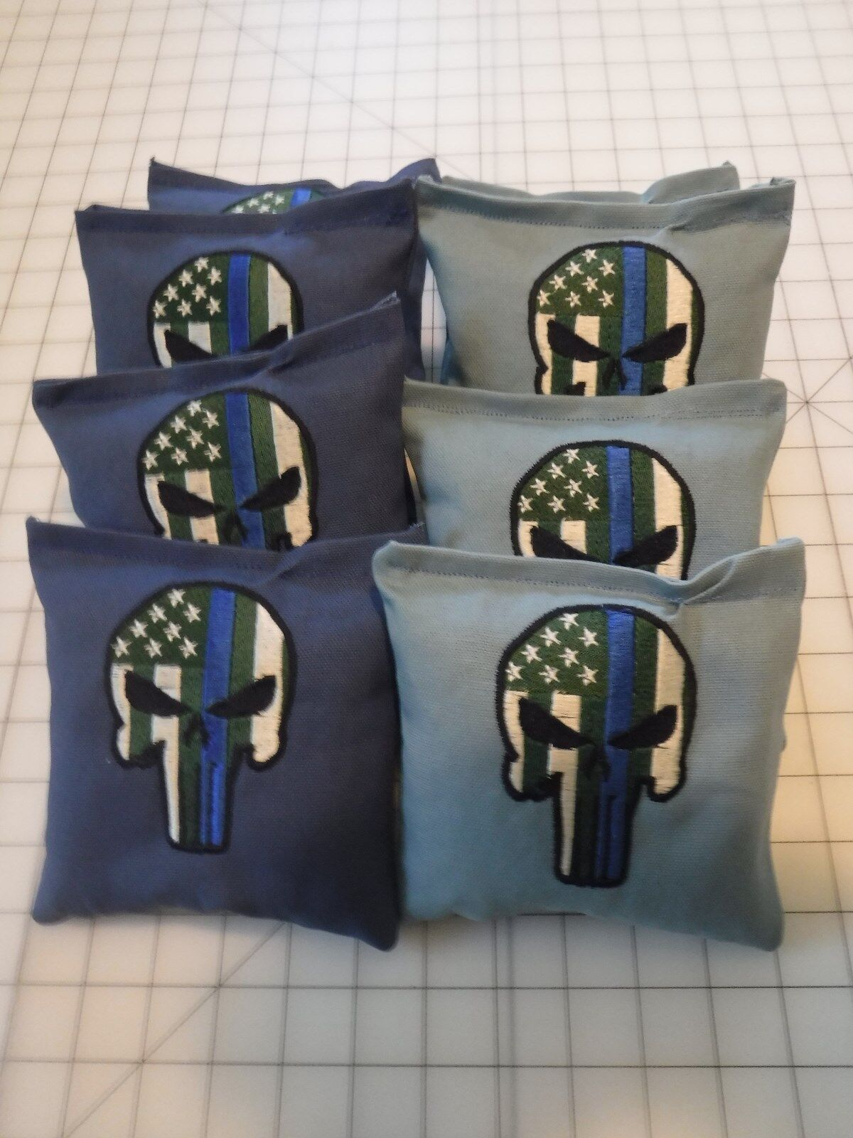 Set Of 8 Cornhole  Bags Embroidered With The Punisher Police  Light & Dark bluee  fashion