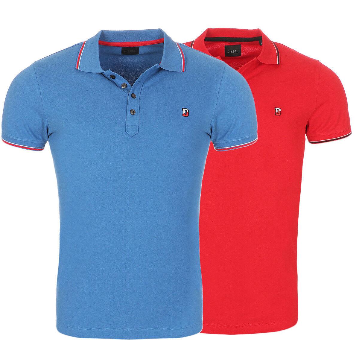 Diesel Polohemd T-SKIN Herren Polo Shirt Poloshirt Hemd blau rot kurzarm NEU