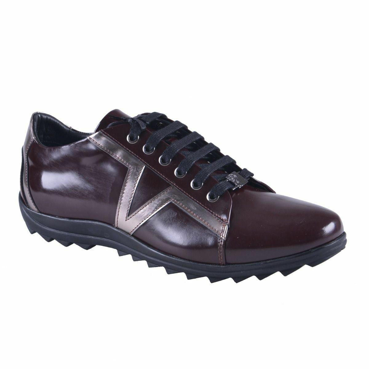 Versace Collection Hombre Piel Borgoña Moderno Zapatillas size 6 7 8 9