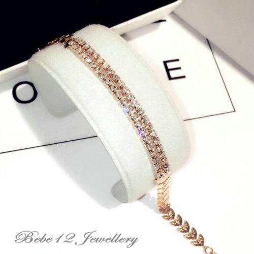 Simulated Diamond//Double Chains Leaf Designed Bracelet//RGB080