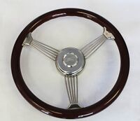 70-77 Ford Mustang Wood Banjo Steering Wheel 15 Engraved Ford Center Cap