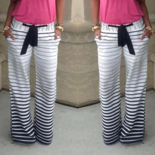 Womens Boho Wide Leg Palazzo Pants Trousers Holiday Hippie Baggy Loose Leggings