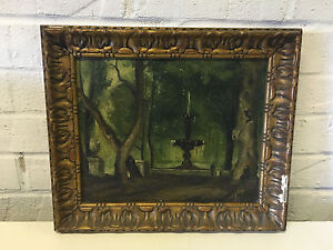 Antique-Signed-Oil-on-Canvas-Board-Painting-Landscape-w-Fountain-amp-2-Figures