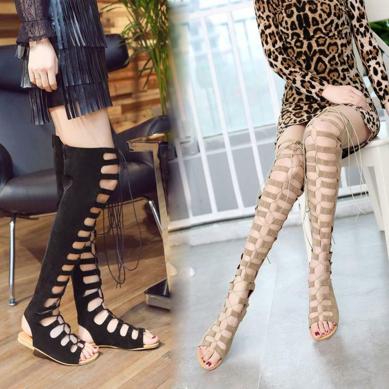 Roma Women's Gladiator Lace Up Over The Knee Boots Peep Toe Flat Sandals