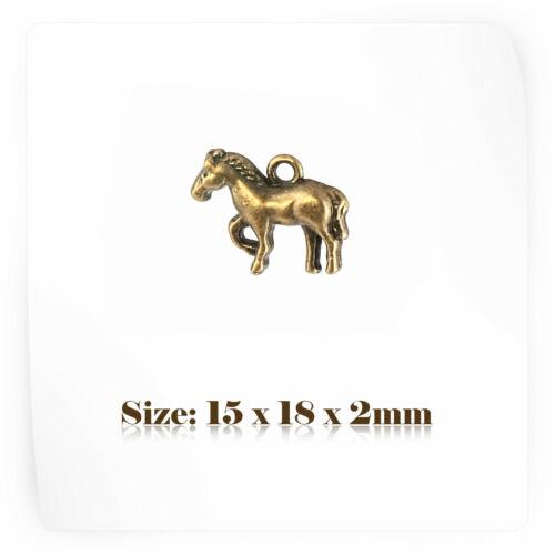 10 Bronze Antique style Vintage Cheval Charms Pendentif Steampunk 071