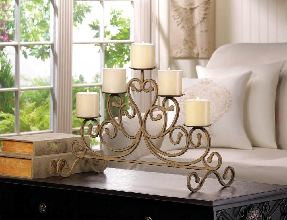 New  Wrought Iron Antique Finish Rustic Candelabra Candle Home Decor 10015541