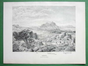 GREECE-View-of-Corinth-1882-Antique-Print