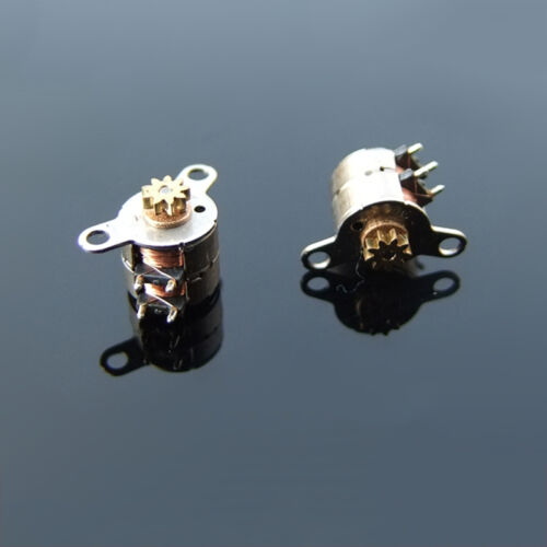 2PCS Mini 6mm 2-Phase 4-Wire Stepper Stepping Motor With 9-Teeth Copper Gear New