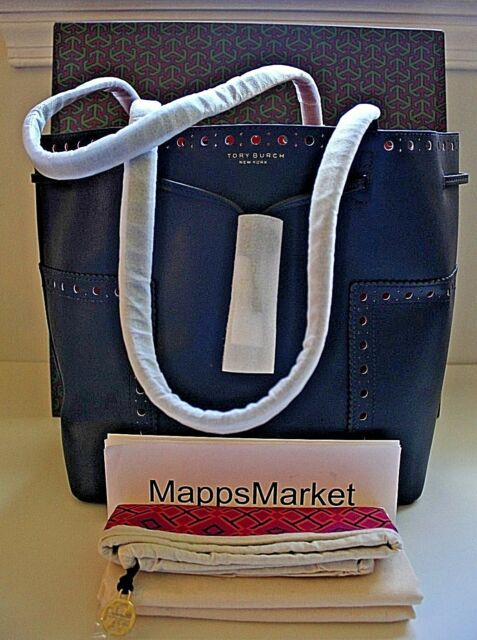 54c79be28c74 NWT Authentic TORY BURCH Block-T Brogue Drawstring Tote in Navy w  GIFT BAG