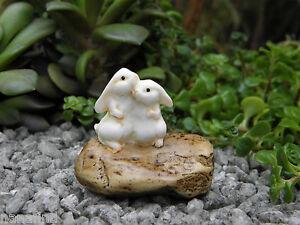Miniature Dollhouse FAIRY GARDEN ~ Rabbit Bunny Rabbits Hugging on Stone ~ NEW