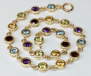Genuine-9ct-Yellow-Gold-NATURAL-Multi-Gem-Colorful-Line-Tennis-Bracelet-18cm