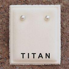 NEU Titan OHRSTECKER 3mm PERLEN in creme PERLENOHRRINGE OHRRINGE