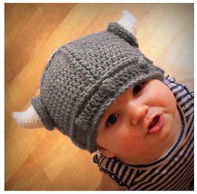 Cute Children Infant Winter Knitted Hat Handmade Crochet  Hat Viking Horns Hat