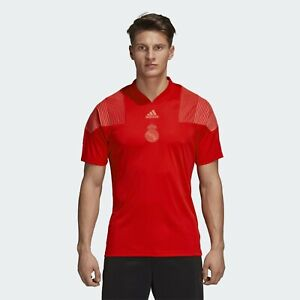 49cd8df1e5 adidas Real Madrid Icon Tee Mens Vivid Red V-Neck Active Wear T ...