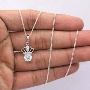 2-2Ct-Round-VVS1-Diamond-Crown-Solitaire-Pendant-Necklace-14K-White-Gold-Over