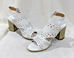 White Peep Toe Bootie Sandals-Sz 7