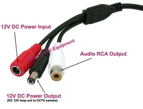 CCTV Security Spy Hidden Sensitivity Microphone Audio Mic w// Loop Through Power