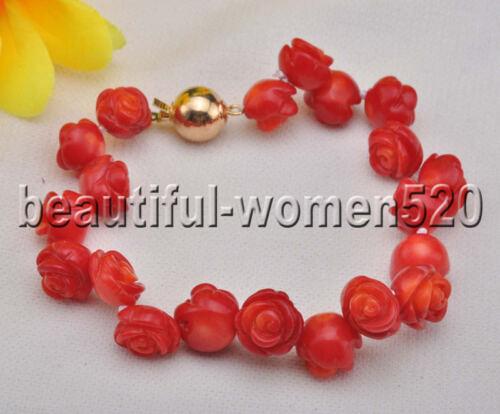 environ 20.32 cm Z8265 Handmade 10 mm Corail Rouge Carve Rose Bracelet 8 in