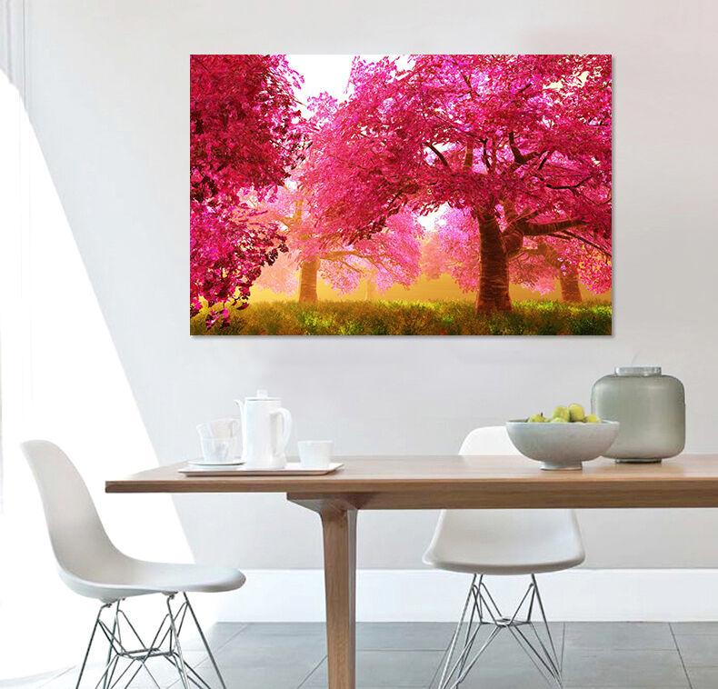 3D Rote Bäume, Wälder 88 Wandbild Fototapete BildTapete Familie AJSTORE DE