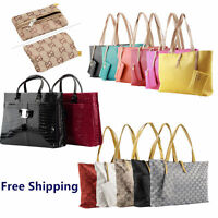 Fashion Ladies Classic PU leather Tote Bag Woman Handbag Purse Wallet Lot FT