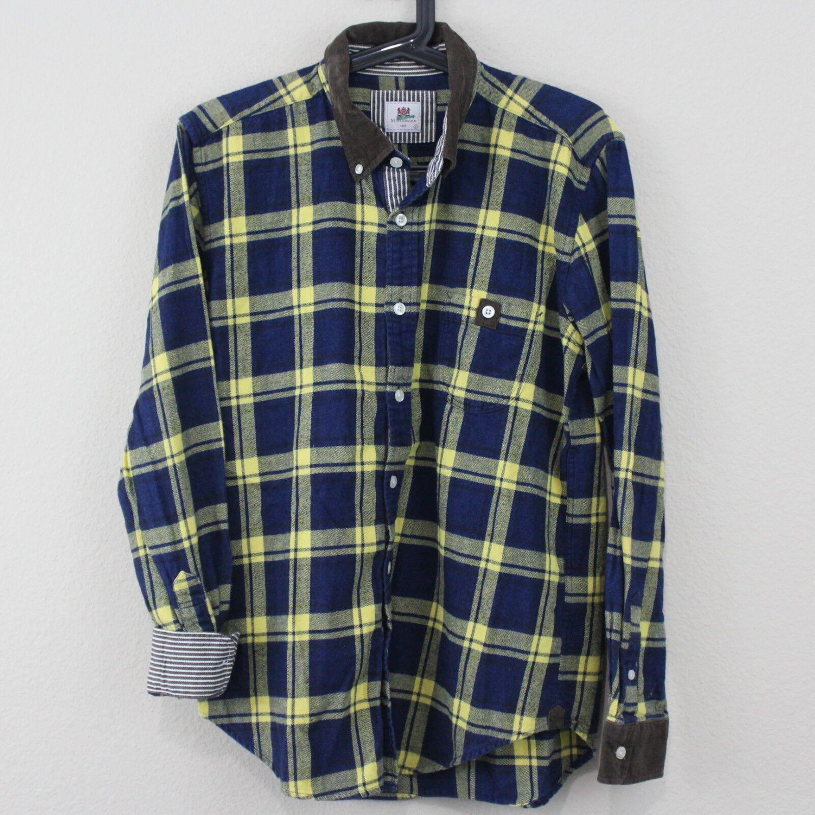 Mitsumine Japan Mens Large Plaid Corduroy Flannel Button Up Shirt D369