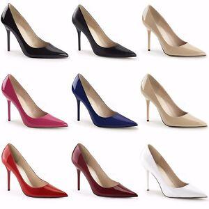 c4c8c10eaba PLEASER Classique-20 Black Nude White Patent Pumps Heels Large Plus ...