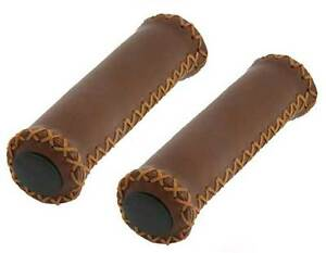 BROWN FAUX LEATHER W// BLACK END CAP BICYCLE HANDLE GRIPS LOW RIDER BEACH CRUISER