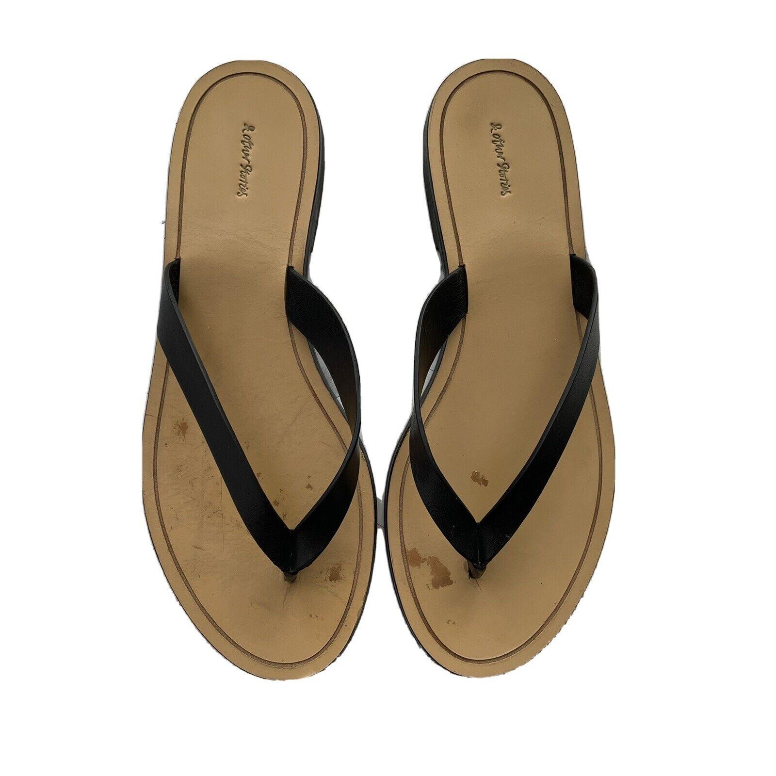 & OTHER STORIES Chaussures Femmes Cuir Noir Flip Flops Taille 7 US (37 euros)