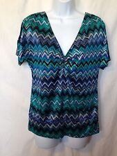 Heart Soul Womans Shirt Size M Shiny Blue Zig Zag Pattern Chain Accent On Back