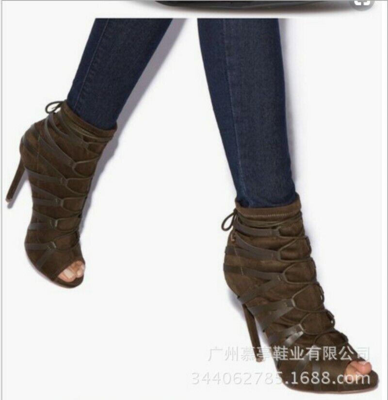 dd7f3996cae9a5 Bottines Sandales Bout Ouvert Talon Aiguille Haut Lacets Femme Chaussures  Décontractées Pompe
