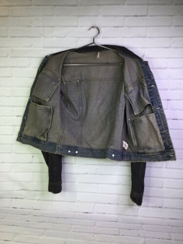 Jean blu Sz People Womens 6 Free scuro Distressed Denim Jacket strappato HYRzwEqE