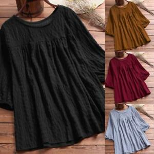 Fashion-Women-039-s-Loose-Solid-Half-Sleeve-Tunic-Swing-Tops-T-Shirt-Casual-Blouse
