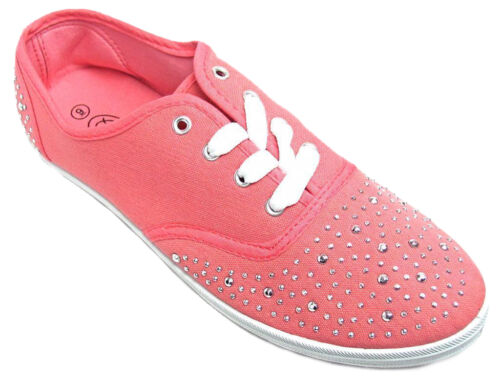 Womens Silver Studded Canvas Lace Sneakers Tennis Shoes Black Pink
