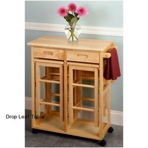Image Is Loading Drop Leaf Table Set Dining Kitchen 2 Stools