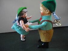 Schuco wind up clockwork dancing pair Bavarian boy girl tinplate felt covered