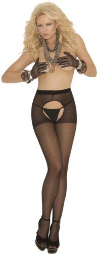 Elegant Moments Sheer Crotchless Pantyhose Intimates Clothing Gift Black