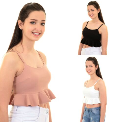 Womens Cami Strappy Peplum Frill Ruffle Plain Zip Back Lined Crop Top Bralet
