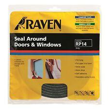 2 X Raven SEAL AROUND DOOR & WINDOW Self Adhesive Foam Covers 3-5mm Gap 5m GREY