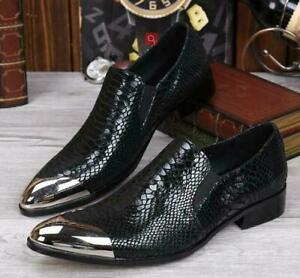 mens pumps business metal head pointy toe snakeskin