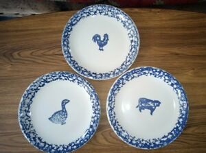 Image is loading 3-Tienshan-Folk-Craft-Animals-Blue-Sponge-Dinner- & 3 Tienshan Folk Craft Animals Blue Sponge Dinner Plates ~ Rooster ...