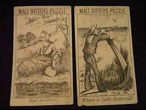 """#Lot Of 2 MALT BITTERS Puzzle Victorian Trade Card 3 x 5"""""""