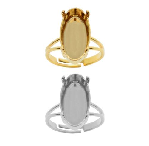 Bases de anillo ajustables de latón para 4162 Oval alargada Piedras Elegante 14mm o 18mm