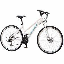 700C Women's Dual Sport Bike Schwinn White Bicycle Shimano Aluminium 21 Speed