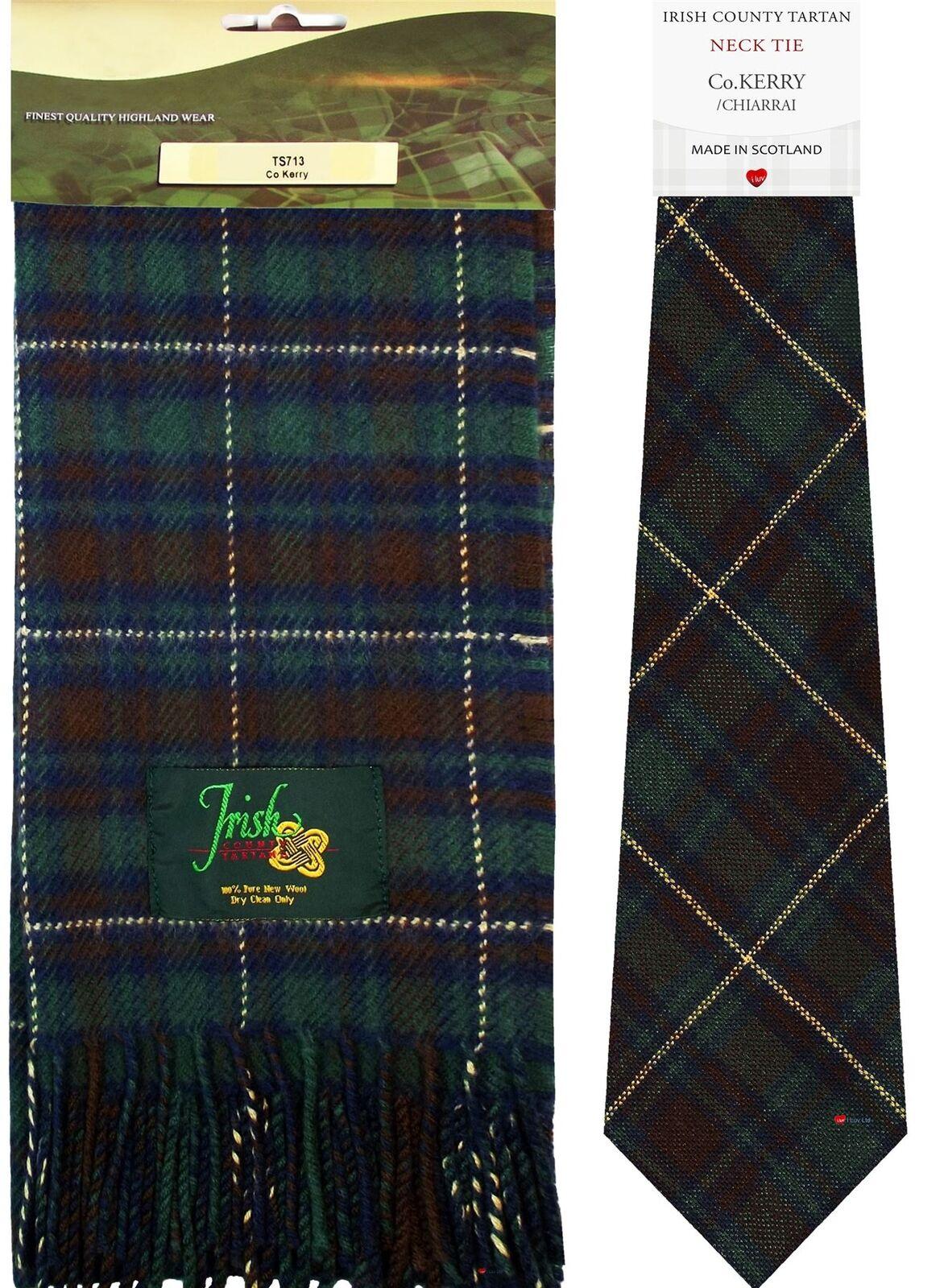 Irish County Kerry Tartan Lambswool Scarf and Wool Necktie Gift Set