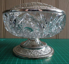 Vintage Mayell Pressed Glass Rose Bowl w/ Silver Plate Gridded Lid / Stand - GC!