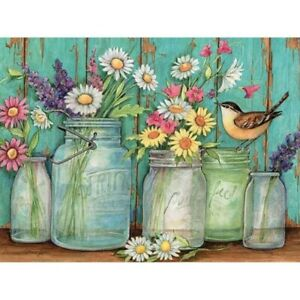 DIY-5D-Full-Drill-Diamond-Painting-kit-Flowers-Sparrow-Cross-Stitch-Home-Decor