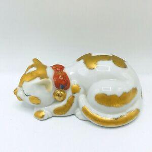 Vintage Sleeping Cat Kitty LJ Japan Ceramic Porcelain Gold Overlay